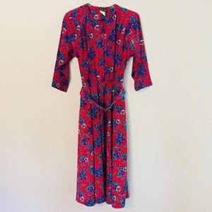 Vintage Secretary Dress Stuart Alan Floral Size 10